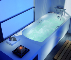 diseño de bañeras con arte en baño