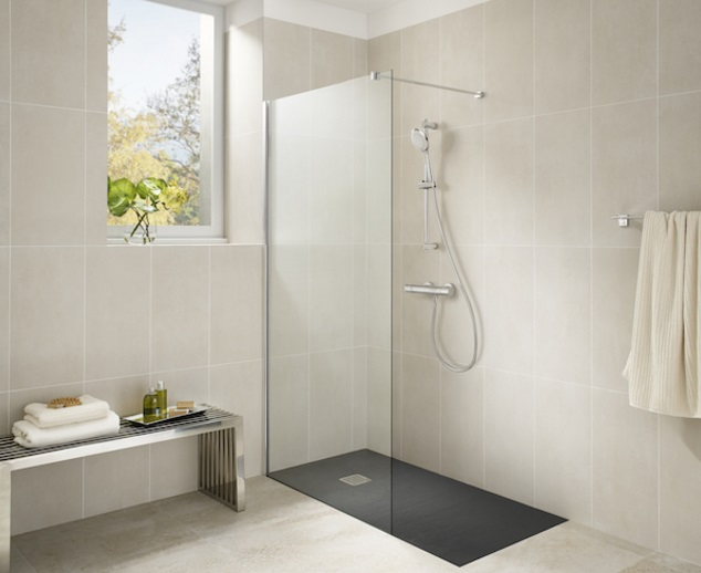 diseño de cuarto de baño con ducha abierta tipo spa